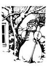 Målarbild snögubbe
