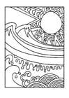Målarbild sol och hav