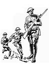 Målarbild soldat - första världskriget