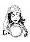 Målarbild spÃ¥kvinna