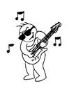 Målarbild spela gitarr