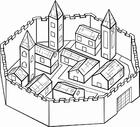 Målarbild stad omgiven av mur