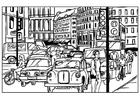 Målarbild stadstrafik