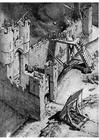 Målarbild stormning av en borg