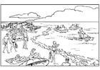 Målarbild strand och hav