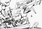 Målarbild strid till havs