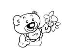 Målarbild teddybjörn med blommor