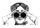 Målarbild tittar genom kikare