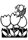 Målarbild tulpaner med bin