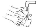 Målarbild tvätta händerna