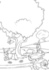 Målarbild vÃ¥ren i skogen