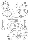 Målarbild vädersymboler