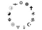 Målarbild världsreligionerna