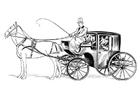Målarbild vagn med häst och kusk