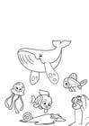 Målarbild valbläckfisk och fisk