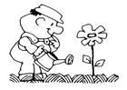 Målarbild vattna blommorna