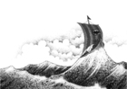Målarbild vikingaskepp